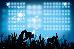 Stage lighting and a cheering crowd silhouettes vector