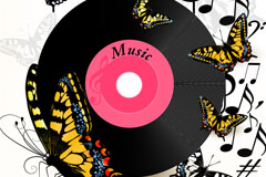 Music discs and the butterfly background vector