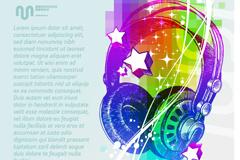 Colorful headphone illustration vector