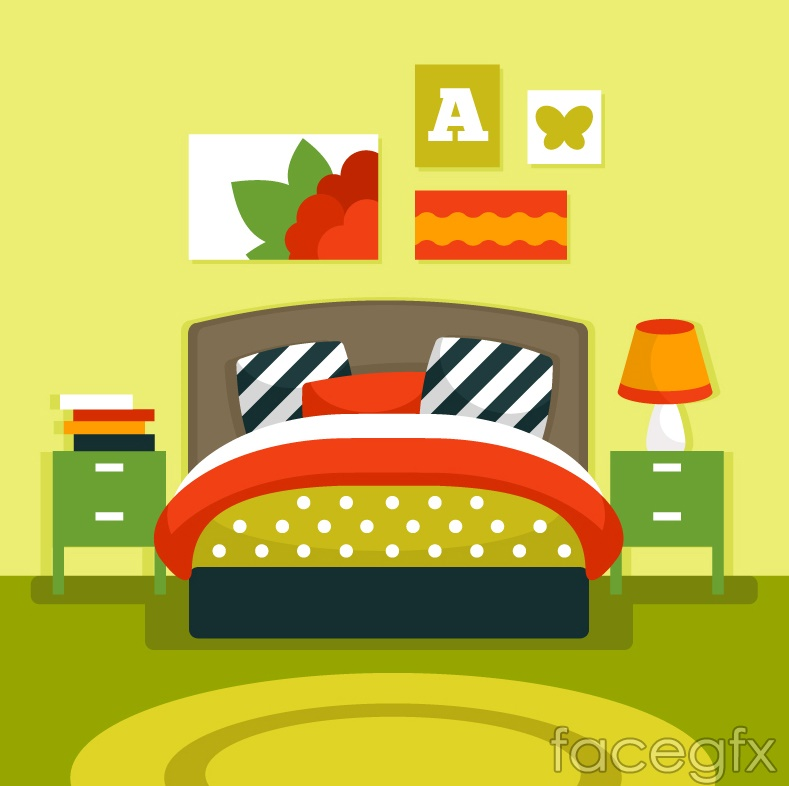 cartoon bedroom vector illustration free download