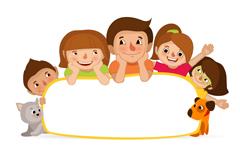 Playful family blank panels vector