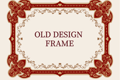 Retro red frame of the pattern vector