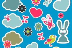 Cartoon animal stickers design vector