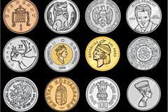 24 world coin design vector
