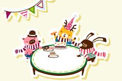 Cartoon animal birthday party vector
