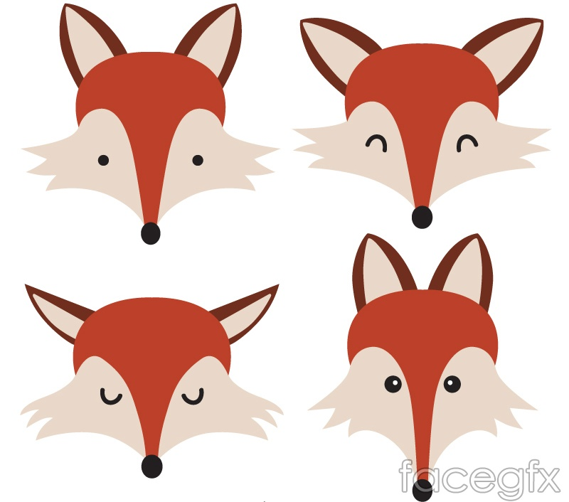 4 cartoon Fox head vector  Fox Head Illustration