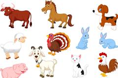 15 cartoon farm animals animal vector