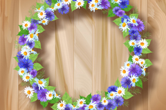 Beautiful wreaths wood background vector