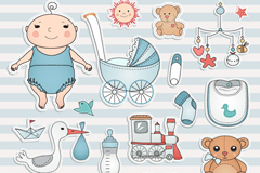 Cartoon baby element tag vector