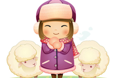 Cartoon little girl with sheep background vector