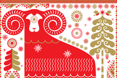 Red pattern sheep vector background