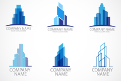 6 fashionable construction logo design vector