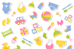 Children's toy stickers vector background