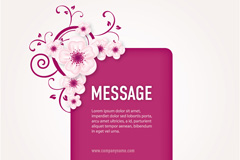 Pink flowers decorate the background vector