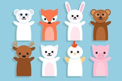 12 cute animal hand puppet vector