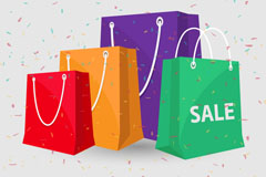 4 colored shopping bags vector