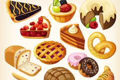 Cartoon dessert cakes delicious vector