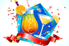 Cartoon holiday drinks background vector