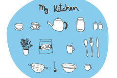 Hand-painted kitchen element vector