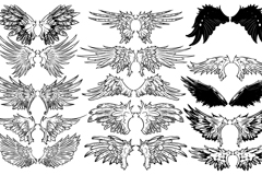 Hand-painted wings design vector