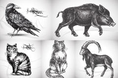 Lifelike hand-painted animals vector