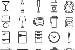 Simple household items icon vector