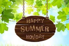 Summer leaves and sunshine background vector