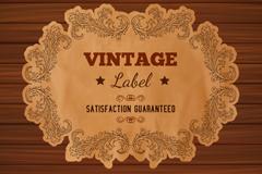 Vintage wood grain background paper label vector