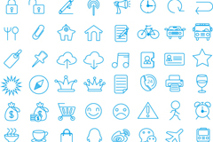 88 blue lines painted business icon vector