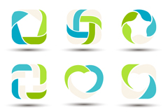 9 fresh colored ring flag vector