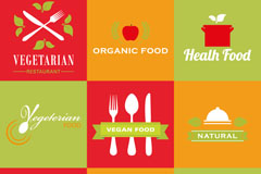 9 fresh vegetarian food logo vector