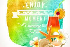Neon Beach summer holiday tag vector