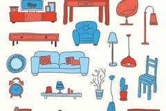 20 colour furniture design vector