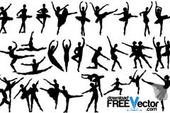 25 ballet dancer silhouettes vector