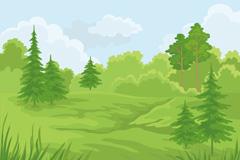 Fresh forest landscape vector