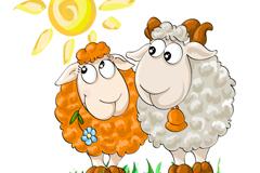 Sheep cartoon the Sun vector