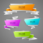 Colored origami banner vector