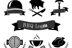 6 black Grill logo design vector