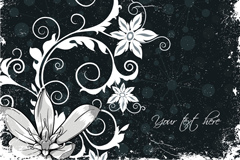 Retro black and white floral background vector