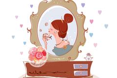 Toilet mirror makeup girl vector