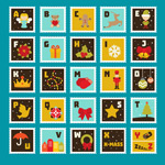 Christmas alphabet stamps vector