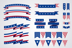 18 United States ribbons and hanging flags of the element vector