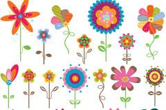 Color cartoon flowers tag vector