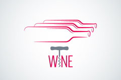 Creative bottle logo and the wine list vector