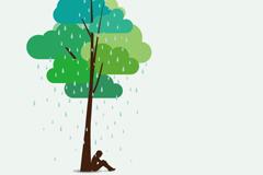 Rainy afternoon vector illustration