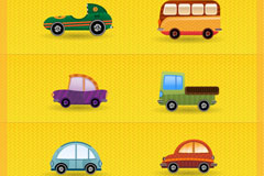 7 mini cartoon transportation vector