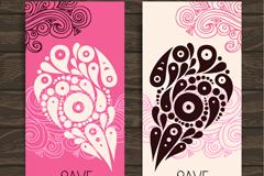 Pattern love invitation card vector