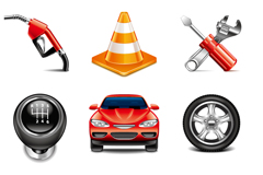 9 cars and repair equipment icon vector