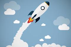 Cartoon rockets broke through the clouds vector
