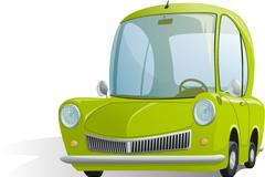 Green cartoon cars vector